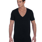 Unisex Jersey Short-Sleeve Deep V-Neck T-Shirt