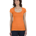 Ladies' Sheer Mini Rib Short-Sleeve Scoop Neck T-Shirt