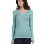 Ladies' Sheer Mini Rib Long-Sleeve V-Neck T-Shirt