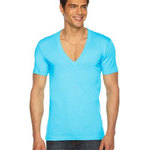 Unisex Sheer Jersey Short-Sleeve Deep V-Neck
