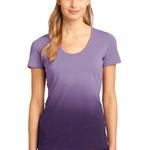 ™ Ladies Dip Dye Rounded Deep V Neck Tee